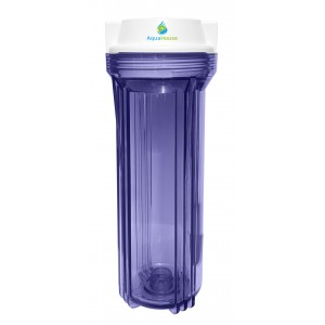 """10"""" Water Filter Housing - 1/4"""" Ports - Clear Plastic - For  Reverse Osmosis & More"""