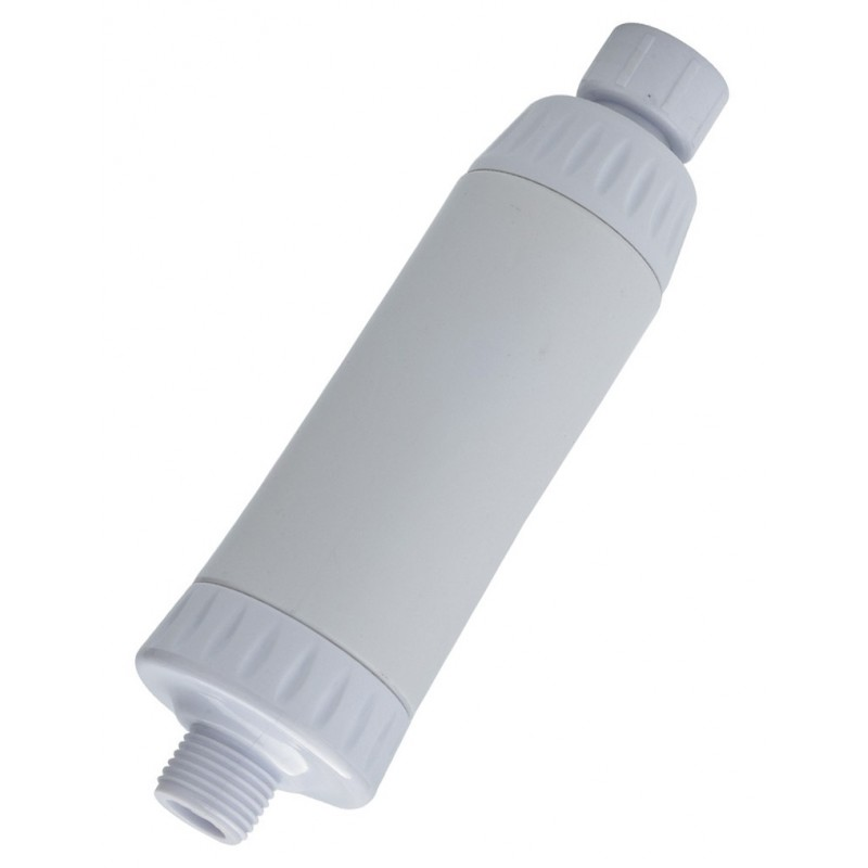White In-line KDF Shower Filter - Slim Design fits any shower