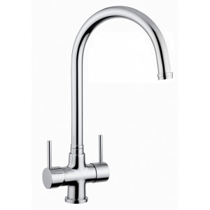 3 Way Kitchen Tap - Chrome Dual Lever Tap with side lever for Filtered Water