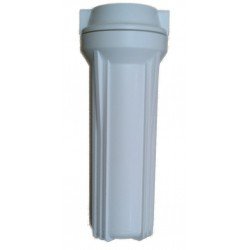 "10"" Water Filter Housing - 1/4"" Ports - White Plastic - For  Reverse Osmosis & More"