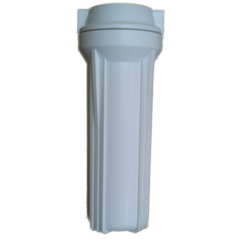"""10"""" Water Filter Housing - 1/4"""" Ports - White Plastic - For  Reverse Osmosis & More"""